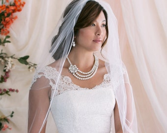 Single Layer Wedding Veil, Bridal Veil With Satin Ribbon Edge