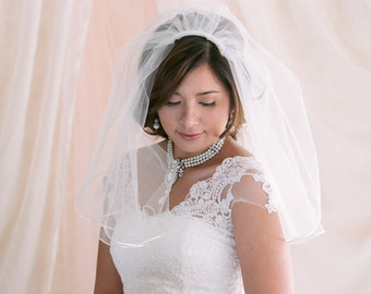 2 Tier Bridal Veil, Blusher Veil, Bridal Veil, Wedding Veil, Satin Edge Veil
