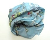 Gorgeous Souvenir of Italy Head Scarf, Square, Blue, Pictoral, Made in Italy, Hand Rolled Edge, Print Scarf, Bandana, Large