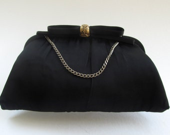 Vintage Black Evening Bag, Clutch or Chain Handle, Purse, Decorative Clasp, Gold Tone Metal, After Five, Chic, Formal 1950's