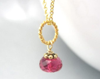 Dainty Pink Necklace Charm Tiny Birthstone Pendant Gold Pink Necklace Sterling Silver October Birthstone