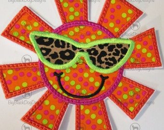 Silly Summer Sun Wearing Sunglasses - Iron On or Sew On Embroidered Applique