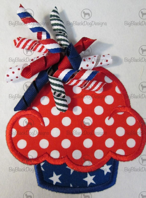 Patriotic Korker Bow Cupcakes - Iron On or Sew On Embroidered Custom Made Appliques