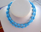 Light Blue Vintage Glass Bead Necklace 30 Inches  Double Pyramed Beads For Her