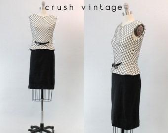 50s Two Piece Wiggle Dress XS / 1950s Black White Grid Frock / American in Paris Dress