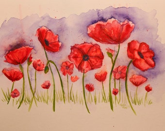 ORIGINAL Watercolor Painting   --Poppy Fields--