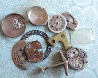 Vintage WATCH PARTS gears - Steampunk parts - d98 Listing is for all the watch parts seen in photos sale was 9.95