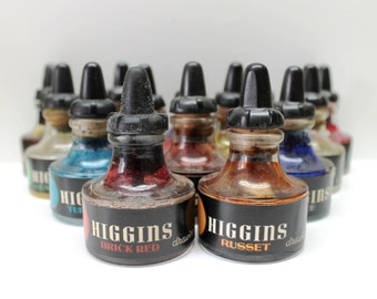 vintage Higgins drawing ink bottles,Higgins drawing ink,drawing ink bottles,drawing ink,movie props, props,collectibles,man cave decoration