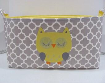 "XXL 18"" x 8"" x 10"" Fabric Organizer Basket Appliqued OWL Storage Container Bin Bucket Bag Toy Bin Home Decor- Grey Quatrefoil Cotton Fabric"