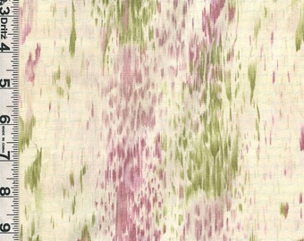 Fabric Hoffman Silent Inspirations blender  green dusty rose on cream OOP