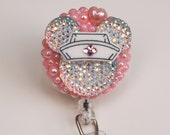 Minnie Mouse Iridescent Shimmery Silhouette ID Badge Reel - RN ID Badge Holder - Zipperedheart