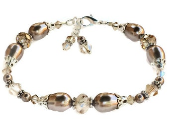 Bridal Pearl and Crystal Bracelet, Golden Shadow Bracelet with Crystals from Swarovski