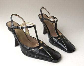 90s vintage Elegant Black Leather with Ivory Pinstriped Trim T-Strap Sling Back Pumps NOS / Nine West
