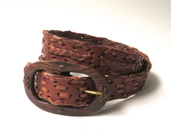 Leegin vintage Woven Brown Leather Belt with Carved Wooden Buckle  / Handcrafted in Mexico