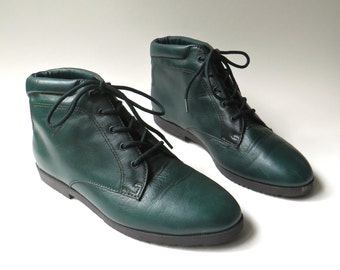 80s vintage Danexx Dark Forest Green Leather Ankle Boots