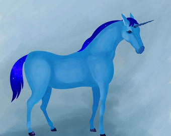 Illustration art print, Field guide to unicorns: Bluenicorn