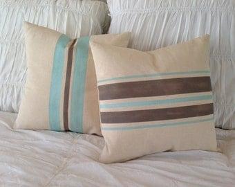 French Grainsack  Canvas Nautical/Beach Cottage/Farmhouse Grainsack Pillow Covers set of 2