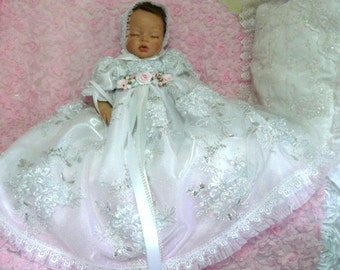 GOWN  Victorian White Tulle Net 3d Embroidered Floral for REBORN Doll or BABY size 0-3month