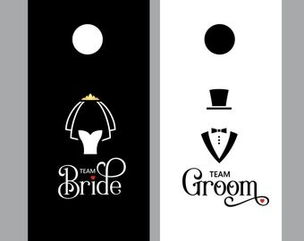 Cornhole board decals, bride and groom, team bride, team groom, wedding dress and tuxedo, cornhole sticker, wedding game decals, yard game