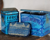 Vintage Blue Tin Collection / Edgeworth Sliced Pipe Tobacco / Force Numbering Machines / Mrs. McGregors Family Nail Box