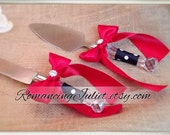 Pretty Polka Dots Cake Server Set with Rhinestone Accent ..You Choose The Bow Colors..shown in red