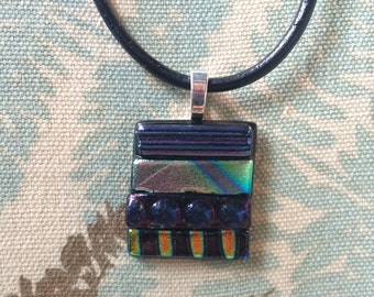 Fused Dichroic Glass Necklace Pendant
