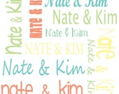 COUPLE FABRIC, Personalized Name Fabric, Custom Colors, Fun fonts