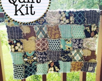 Rag Quilt Kit, makes a small BABY quilt, modern meadow fabrics