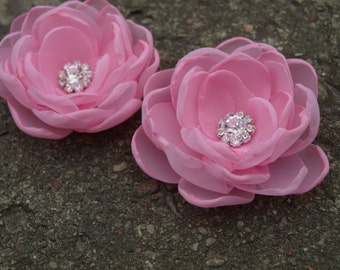 Pale Pink Flower Hair Pins - Brooches - Shoe Clips Set of 2