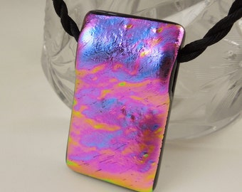 Pink Necklace - Dichroic Fused Glass Pendant - Rainbow Jewelry - Rainbow Necklace - Mosaic Pendant - Hippie Jewelry - Fused Glass X5418
