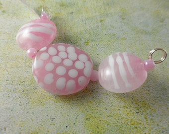 Lampwork Beads Set - Cotton Candy Pink Lentils - SRA