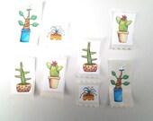 Stickers, Cactus and Succulents, Handmade, Original Design Stickers