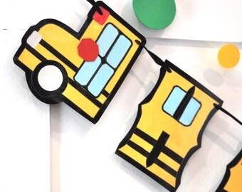 School Bus Birthday Banner, School Bus Birthday Party, Wheels on the Bus Party Decor, School Bus Party Banner, Bus Driver Birthday Banner