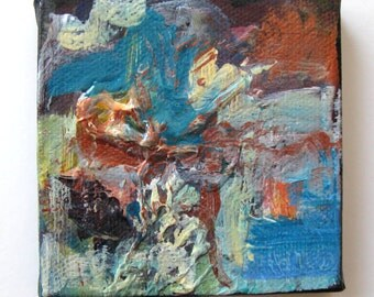 Miniature Abstract Painting, mini canvas with easel, Original art, Gift idea