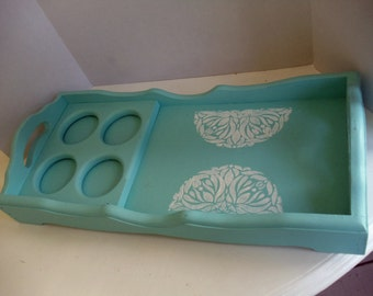 Embellished Wooden Aqua Serving Tray