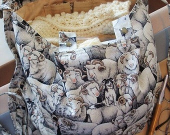 KNITTING BAG APRON -  Ready To Sew - Merino Sheep & Border Collie
