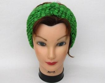 Knot Headband - Twisted Head Wrap - Women's Ear Warmer In Rainbow Lime - Hand Dyed Merino Wool Headband - Crochet Accessories