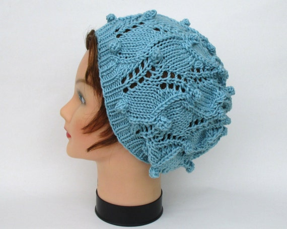 Womens Slouchy Hat Lace Bobble Beanie In Winter Sky