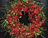 Summer Wreaths, Red Daisy Wreath, Summer Decor, Summer Outdoor Wreaths, Door Wreaths for Summer, Twoinspireyou, Etsy Wreaths, Wreaths