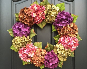 SUMMER WREATHS - Front Door Wreaths - Spring Hydrangea Wreath - Outdoor Wreaths - Summer Door Wreaths - Door Wreath - Housewarming Gift