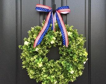 All Seasons Wreaths, Summer Boxwood Wreaths, Faux Boxwood Wreath, Outdoor Boxwood Wreaths, Boxwood Door Wreath, Summer Wreaths