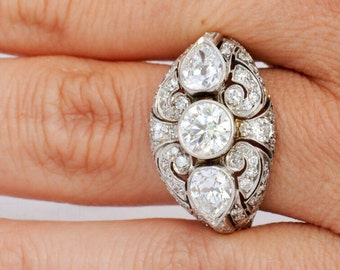 Vintage Art Deco Platinum and Diamond Ring