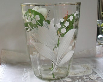 Antique Glass Vase Hand Blown/Hand Painted/Enameled Lily of the Valley Floral Motif