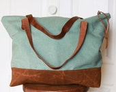 Cotton Canvas Tote Bag with Leather Handles and Waxed Canvas Base. Mineral Green.