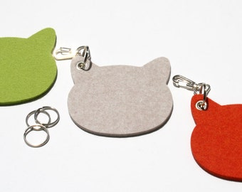 Cats Felt Key Fob Keychain Key Chain Cat Head  Pet Lover Keyring Holder Crazy Cat Lady Cat Lover Eco-Friendly Coworker  Gift