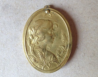 Antique french pictured lady and lilacs flowers slide Locket from France