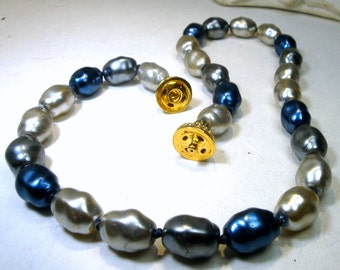 Elegant Carolyn TANNER Metallic Blue, Gray n Silver Glass Pearl Bead Necklace, Gold and Rhinestone Focal Snap Catch, Signed, Knotted