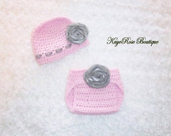 Newborn to 3 Month Old Baby Girl Crochet Flower Hat and Diaper Cover Set Pink and Gray Tulle