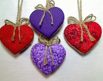 Purple/Red Heart Ornaments | Party Favor | Home Decor | Holidays | Valentines Day | Tree Ornament |Wedding/Bridal | Set/4 | #2