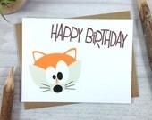Orange Fox Happy Birthday Greeting Card - Childrens Woodland Animal Card - Single